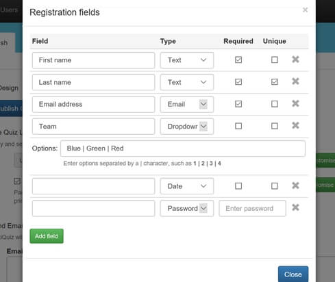 Registration fields