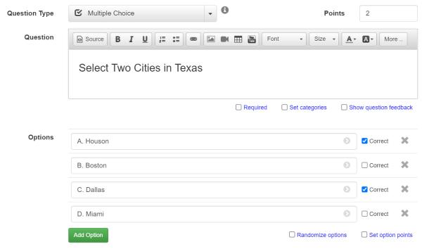 MCQ question creator template