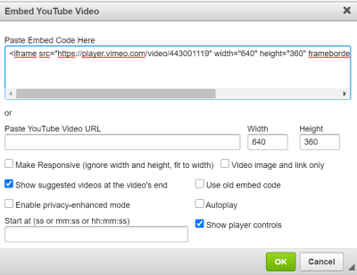 Where to paste video embed code into your quiz question