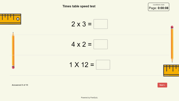 example of a times table mathematics test