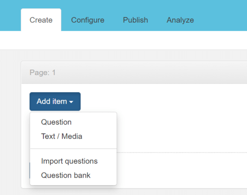 Create screen drop down menu with import questions