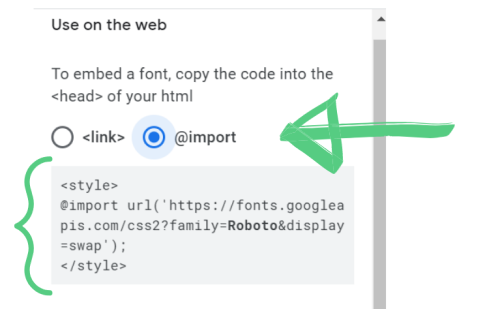 Arrow to import button and style text