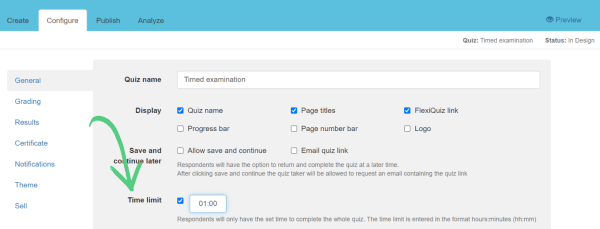 Showing where to select timer option when making a quiz