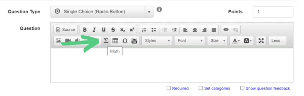 button to add math equations to quiz