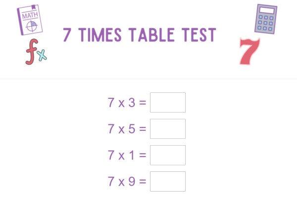 sample seven times table test