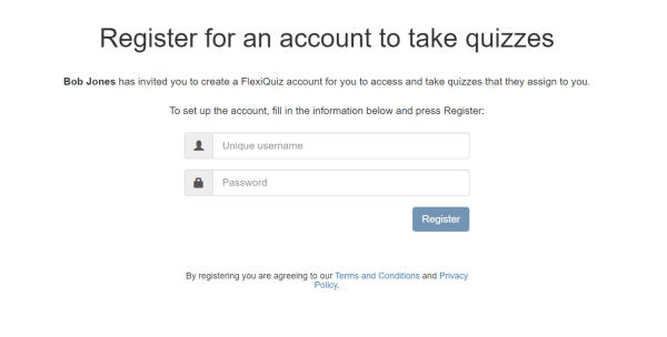 Register for a test-taker respondent account sign up form