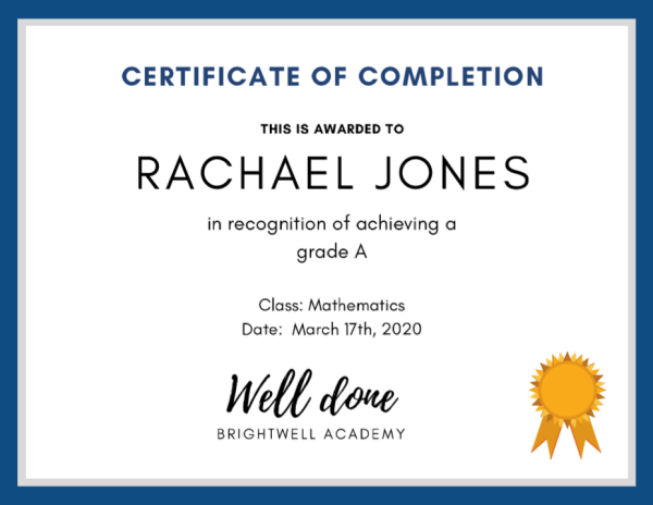 quiz certificate