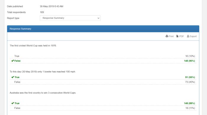 Example quiz analysis with FlexiQuiz
