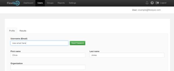 highlighting place to change flexiquiz username