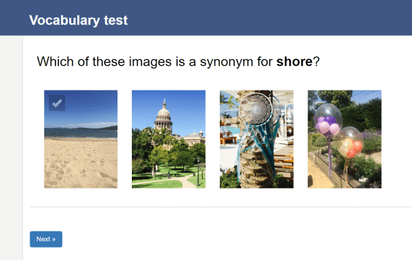 vocabulary test using images