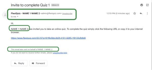 email notification with the quiz makers name