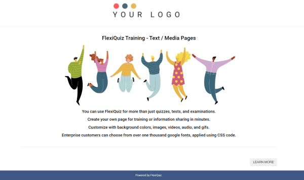 example training page with text and images