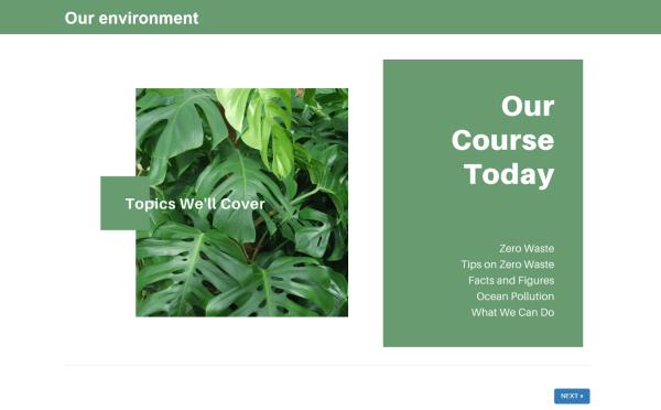 training presentation slide embedded on flexiquiz pages