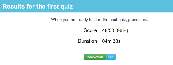 example of test taker results page