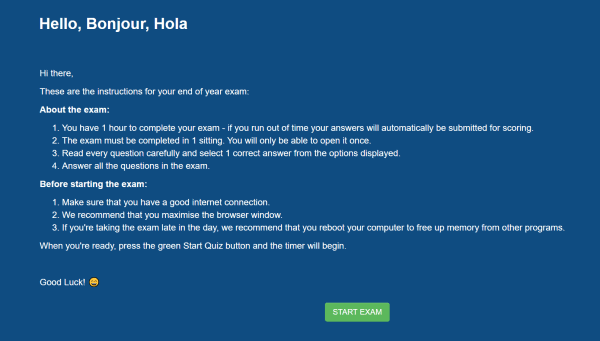 exam welcome page with a customized background