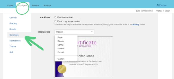 create a certificate screen