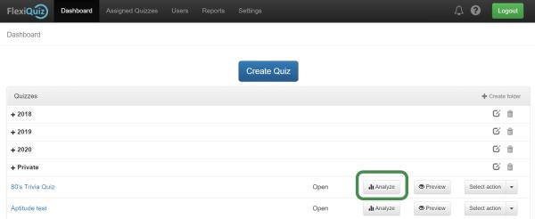 analyze button on main dashboard