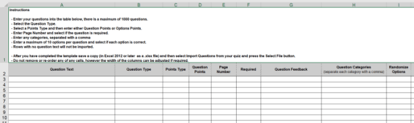 Import quiz questions spreadsheet