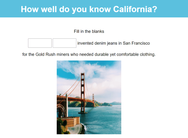 how the image can look in a quiz