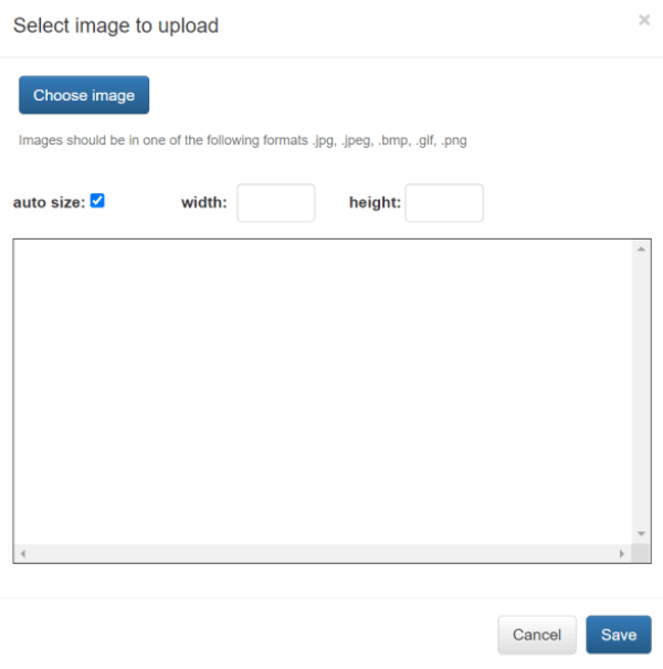 Choose image button to upload picture to online quiz