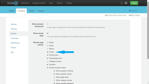 Grades configure results page