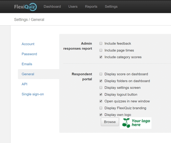 Settings page for the respondent portal