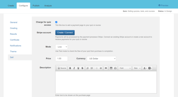 Configure sell page screen