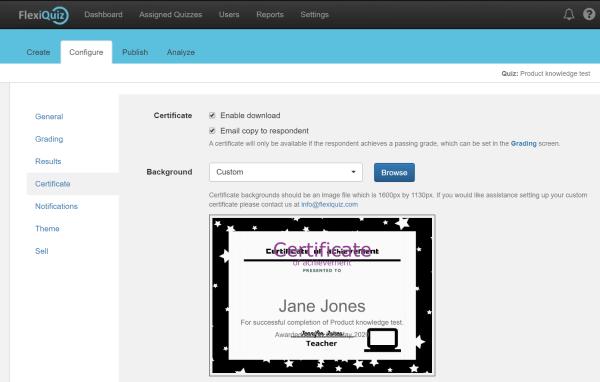 custom quiz certificate upload