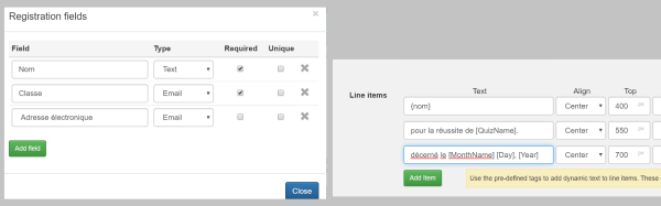 example for adding dynamic tags in another language