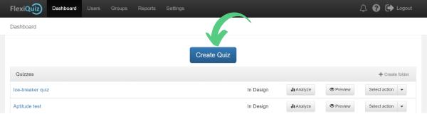 Create quiz button on dashboard