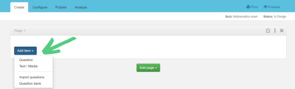 Button to choose assessment page type