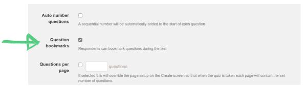 Arrow to bookmark option on the configure quiz screen