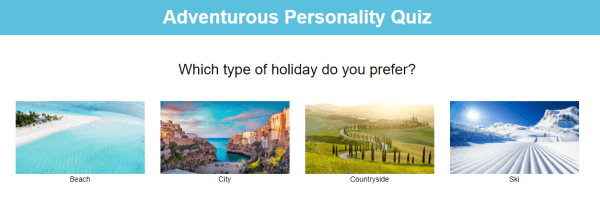 Picture choice quiz with holiday images