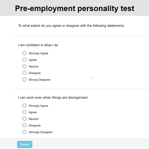 FlexiQuiz sample personality test