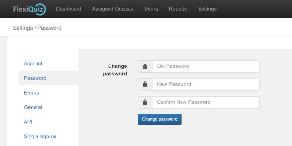 flexiquiz password change screen