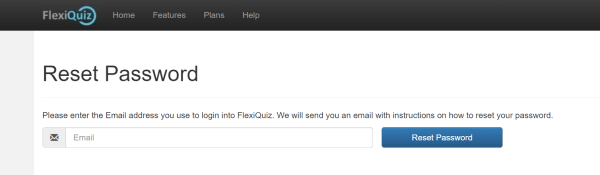 Add your email address for a link to reset your flexiquiz password