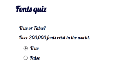 quiz created with google fonts