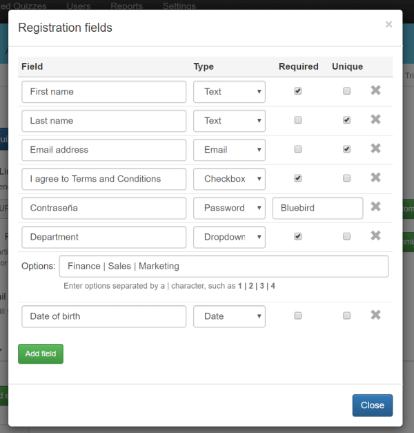 creating a quiz registration page