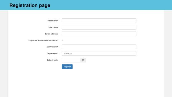 employee registraton page