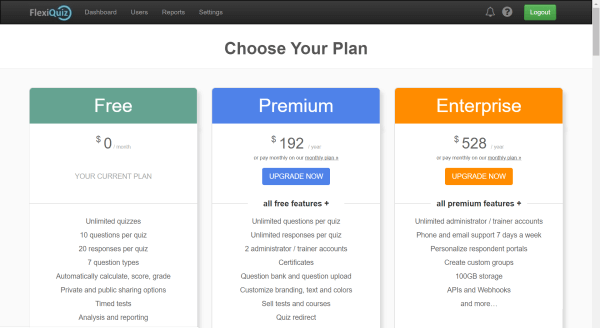 Paid plans page