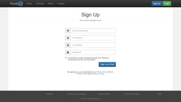 FlexiQuiz sign up page