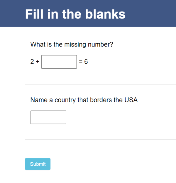 quiz taker fill in the blank test questions