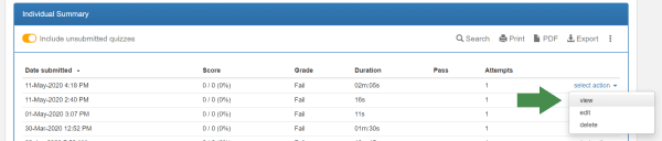 online test analyze screen