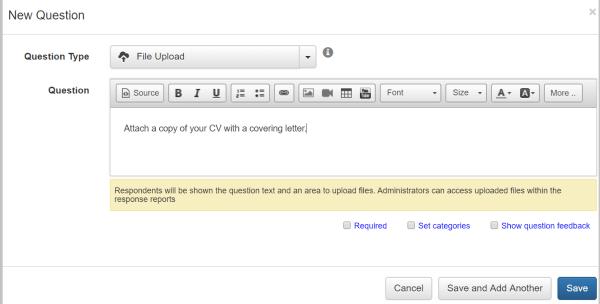 adding file upload question