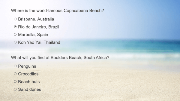 quiz questions with a beach backdrop