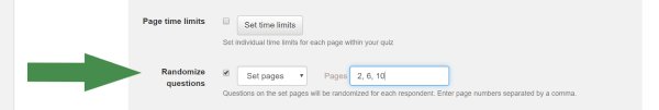 configuring which pages to randomize questions on a test