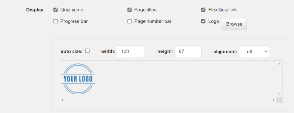 Logo configuration options added when you build a quiz