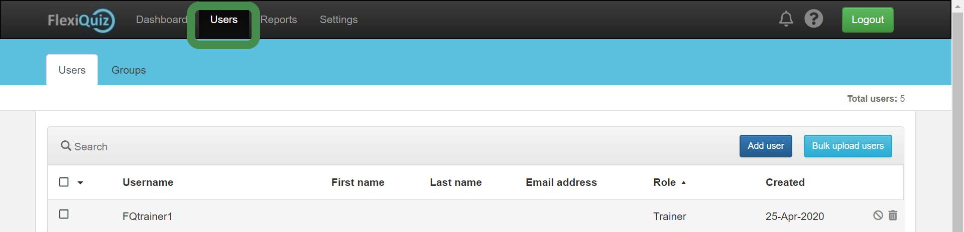 FlexiQuiz users dashboard
