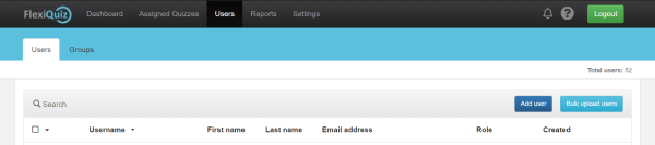 main quiz users dashboard